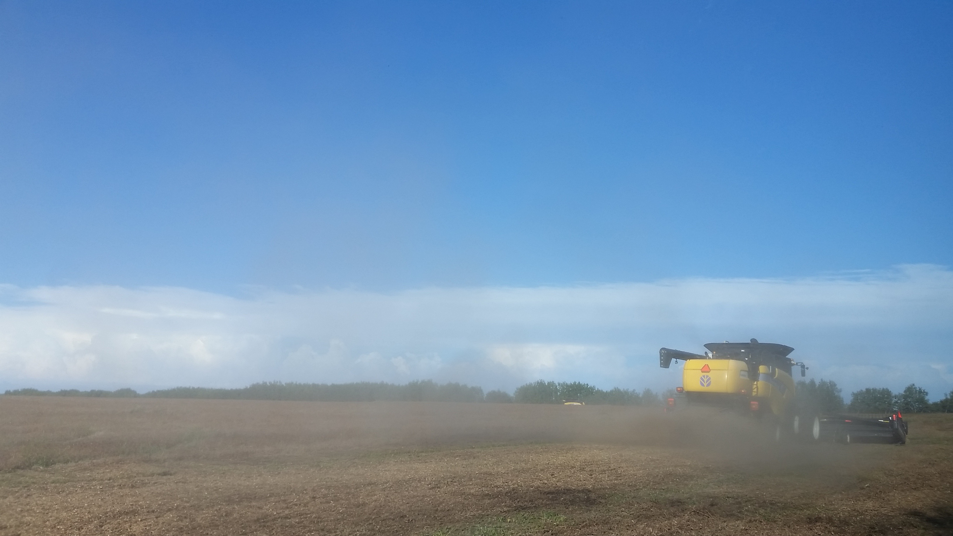 Combines kicking up some dust